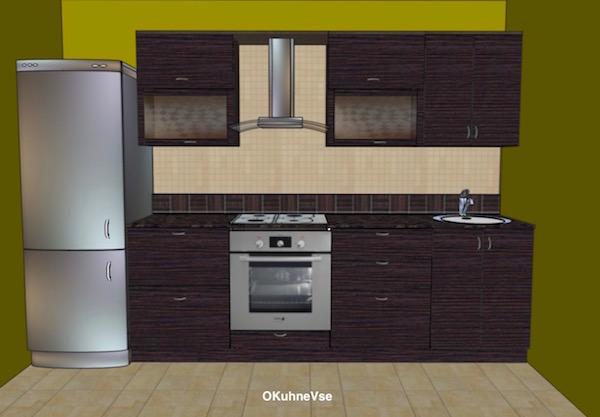Кухня 3 метра с холодильником прямая дизайн