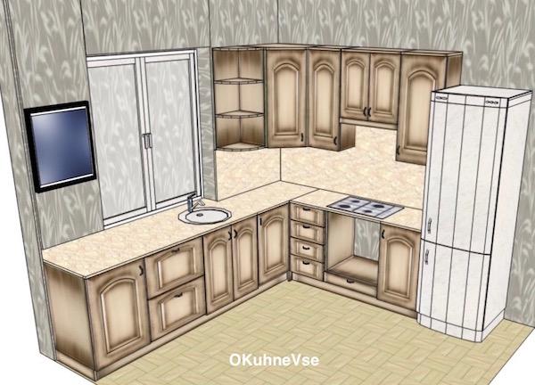 Кухня в хрущевке с мойкой у окна требует переноса коммуникаций