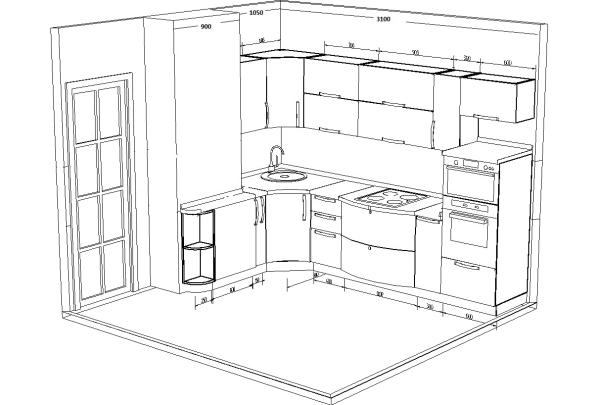 Замер кухни с нишей