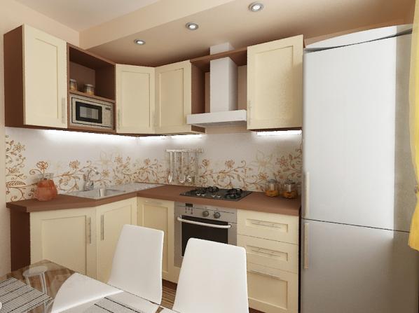 Прямоугольной кухни площадью 6 кв м