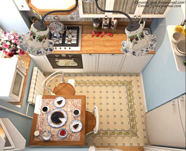 план маленькой прямой кухни