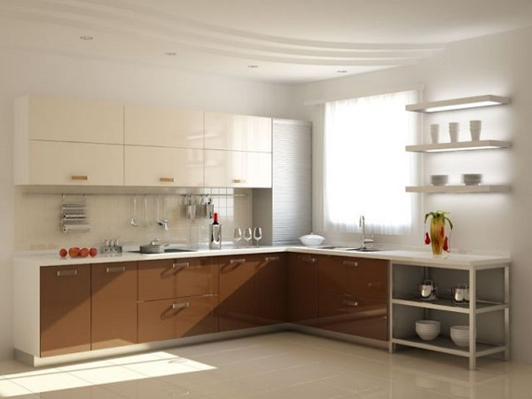 Кухня цвета капуччино: коричневый низ, молочно-белый верх.