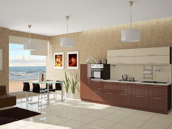 Фасады кухни напоминают плитки молочного и белого шоколада