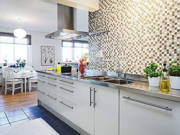 Дизайн серо-белой кухни фото
