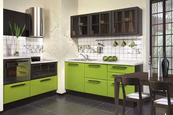 Дизайн кухни зеленый цвет 3