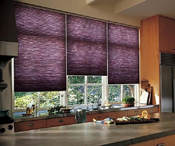 шторы для фиолетовой кухни