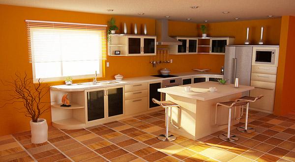 оранжевые стены на кухне, оранжевые обои на кухне
