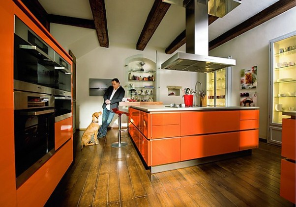 дизайн оранжевой кухни, оранжевая кухня фото