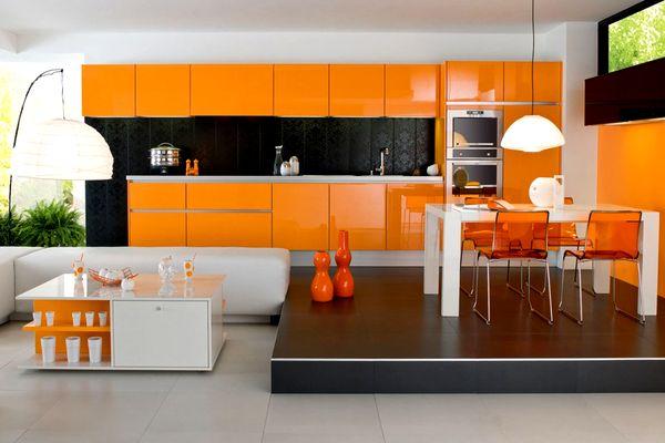 оранжевая кухня фото, дизайн оранжевой кухни