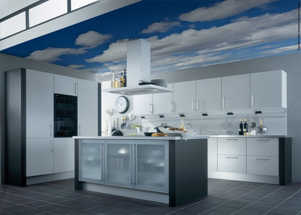 дизайн кухонного потолка фото