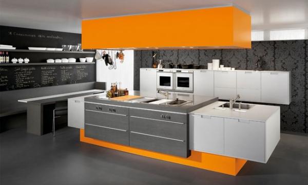 Оранжевая кухня в интерьере вашего