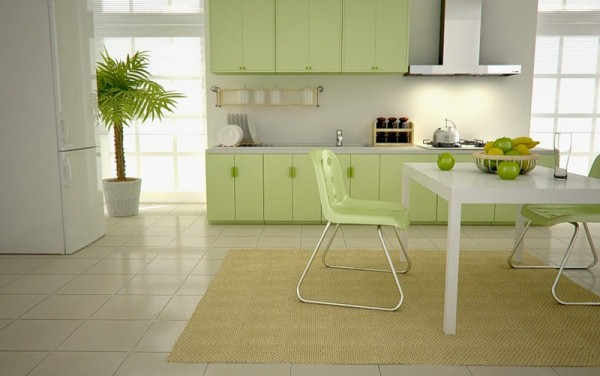Кухня фисташкового цвета3