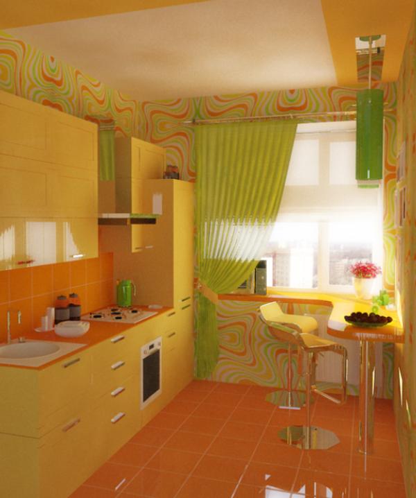Оранжево зеленый интерьер