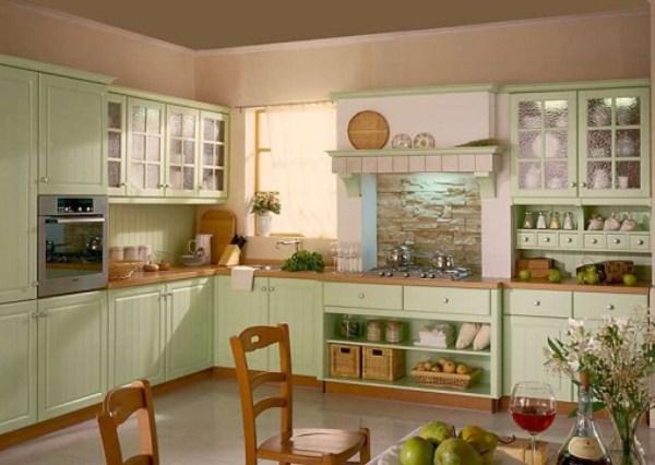 кухня фисташкового цвета в стиле прованс