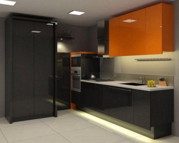 кухня оранжевая с черным