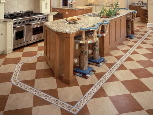 в интерьере - зонирование кухни с помощью линолеума