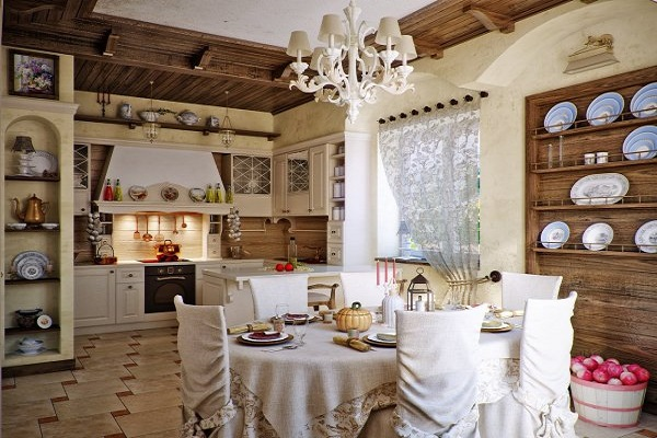 кухня в стиле прованс люстра