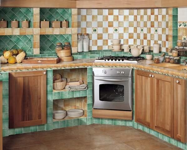 кафельная плитка на кухне фото