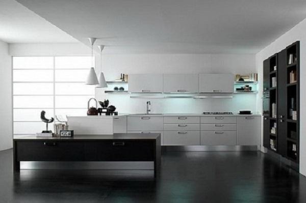 черный пол на кухне