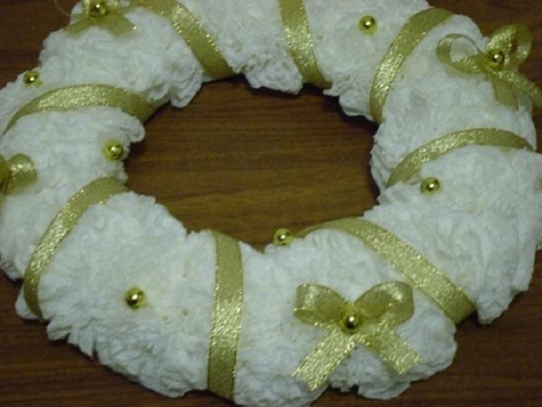 рождественский венок из салфеток