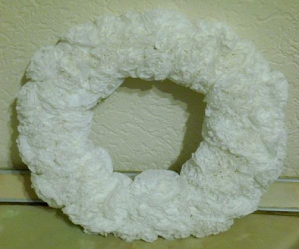 Рождественский венок из бумажных салфеток, заготовка