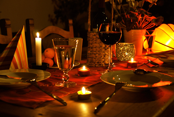 Romatisch bei Kerzenschein