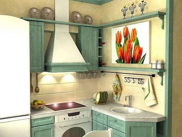 Вариант угловой мебели для маленькой кухни
