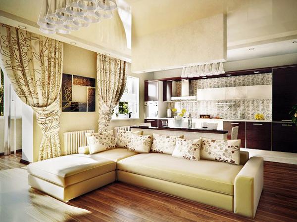 Дизайн штор в кухню гостиную