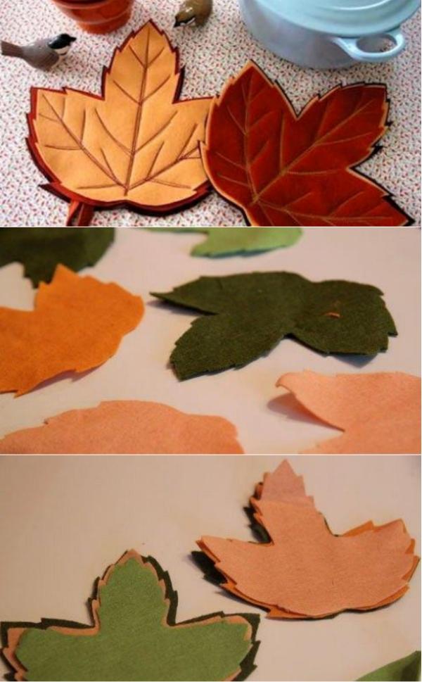 Прихватка из драпа в виде кленовых листьев