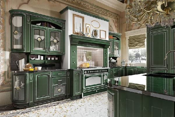 Малахитовый цвет на кухне