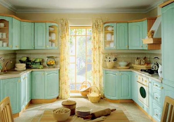Нежно-зеленый цвет кухонной мебели