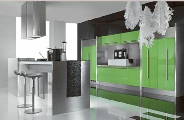 Строгая серо-зеленая кухня (стиль хай тек)