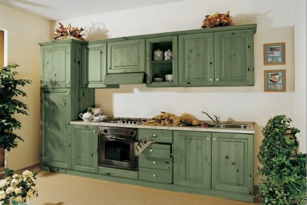 Темно-зеленый цвет мебели  идеален для стиля кантри