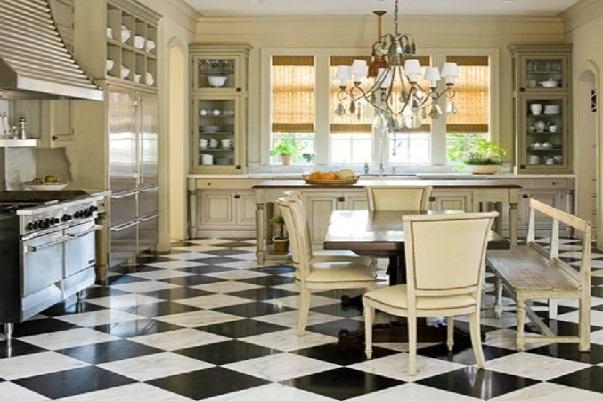Интерьер кухни в данном случае содержит лишь элементы стиля американский кантри