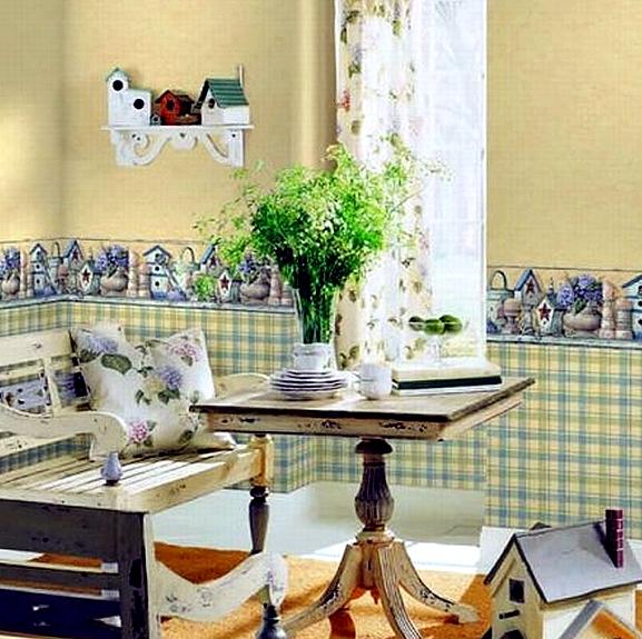 Комбинирование обоев для зеленой кухни