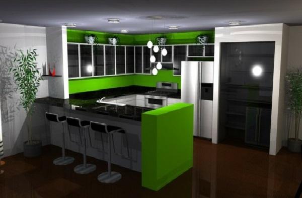 Строгая зелено-серая кухня