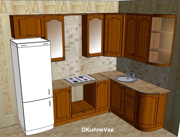 Дизайн на кухне холодильник