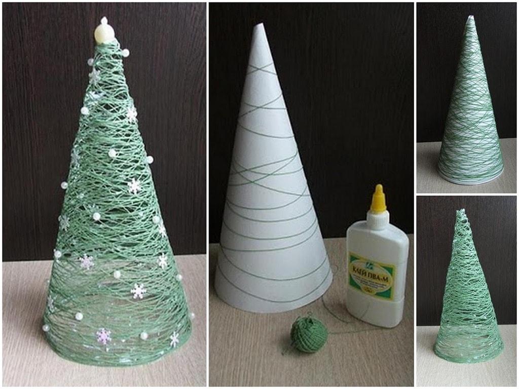 diy-christmas-decorations-christmas-trees-glue-min Елка из ниток и клея ПВА своими руками – мастер-класс