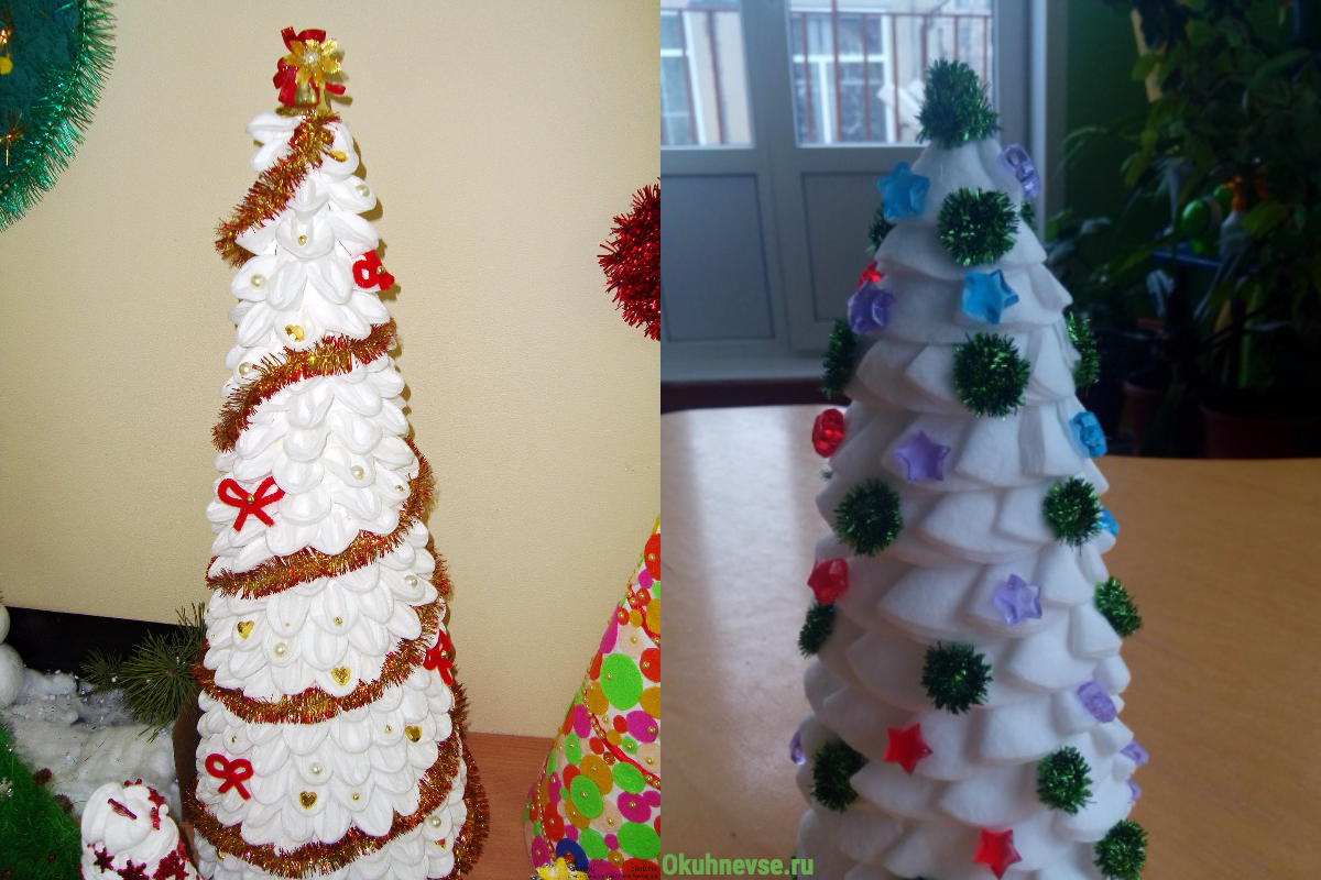 елка из ватных дисков пошаговое фото популярная сахарная