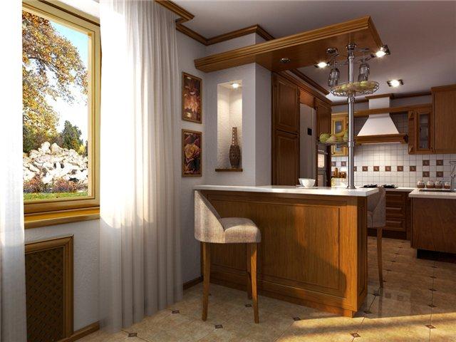 Кухонная мебель для хрущевки с барной стойкой